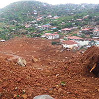 Buildings affected by a landslide in Freetown, Sierra Leone (2017). © BGS NERC